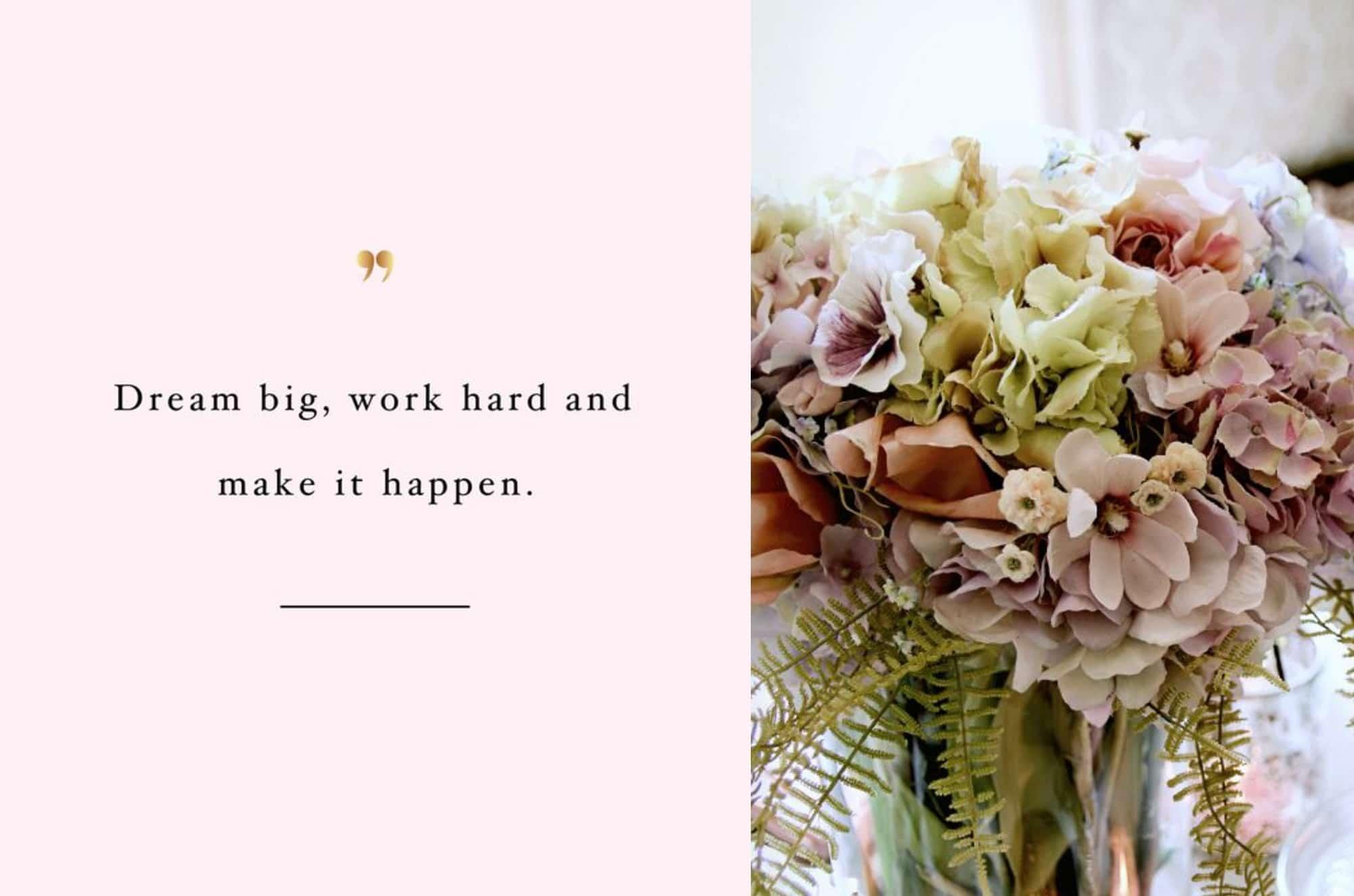Kukkakimppu ja teksti Frida Steiner